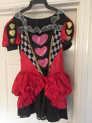 Ladies - Colourful Queen of Hearts fancy dress - Size: 8/10