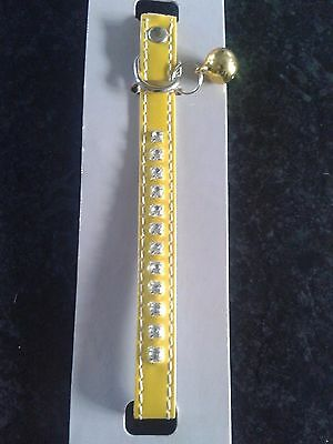 Yellow Patent  Diamante Cat Collar With  Bird Warning Bell.nwt New