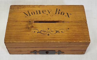Old EARLY Antique WOODEN MONEY BOX Stenciled Lettering Made in Germany