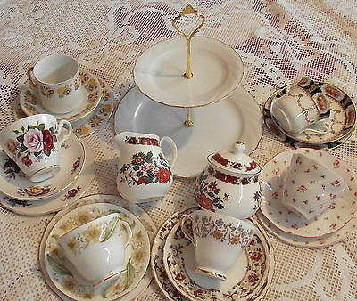 Vintage Mixed Floral English 21 Piece  Tea set with White  Cake stand