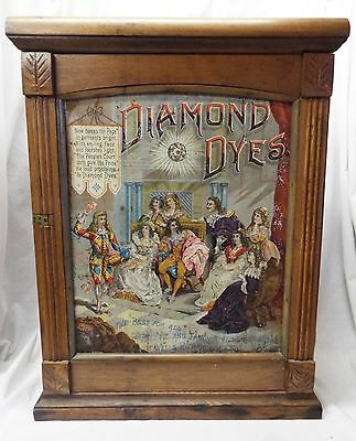 Antique Oak DIAMOND DYES The People's Court Store Display CABINET Advertising