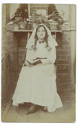 SOCIAL HISTORY - YOUNG WOMAN in WEDDING DRESS 1910 Real Photo Postcard