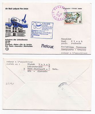 1979 SENEGAL First Flight Cover DAKAR To MONTEVIDEO URUGUAY Lufthansa LH506