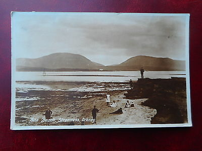 The Beach,Stromness,Orkney. Edwardian era Real Photograph Postcard