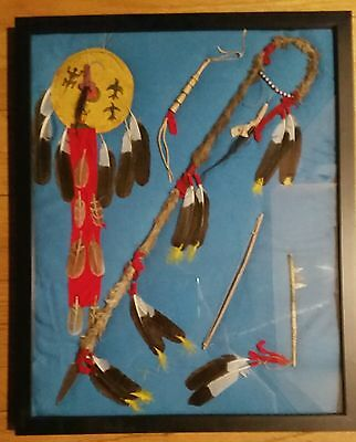 Shadow box of Great Plains Miniature Weapons/ lance, shield, bow, quirt, club