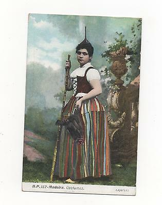 Madeira Lady in traditional costume, PPC