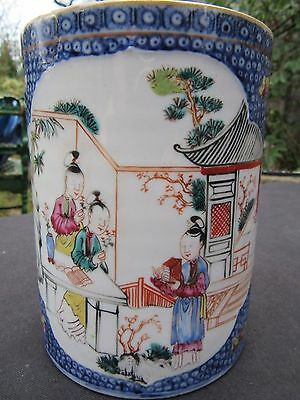 Antique Large Chinese Ceramic Tankard or Mug C 1800 14 cm height Repaired Handle