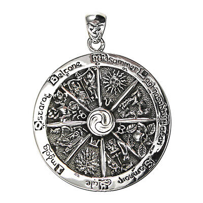 Wheel of the Year Pendant in solid .925 Sterling Silver - Dryad Design Sabbats