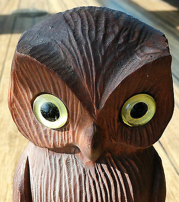 Vintage Wood Carved Owl with Yellow Marble Eyes