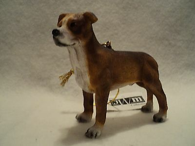 """JWM """"PIT BULL ~ BROWN AND WHITE"""" Ornament  ~ NEW ~ Realistic!!!"""