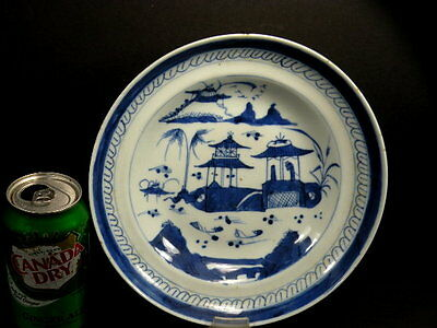 Awesome Antique Porcelain Chinese Canton Blue And White Vegetable Or Rice Bowl