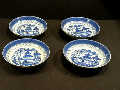4Pc Antique Porcelain Chinese Canton Blue And White Berry Bowl/s Saucer/s Asis