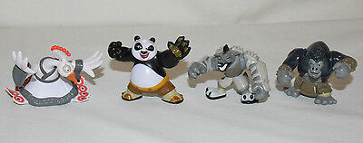 Lot/4 Dreamworks KUNG FU PANDA PVC Action Figures Po Wolf Boss Lord Shen Gorilla
