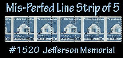 Error LINE Strip of Five Mis-Perfed #1520 the 10c Jefferson Memorial  from 1973