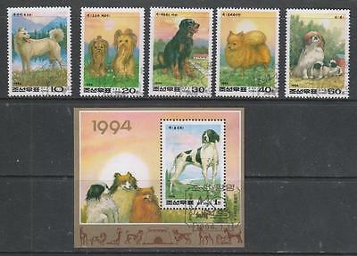 KOREA (N) - 1994.  New Year - Dogs - Set of 5 + M/Sheet, Used (CTO)
