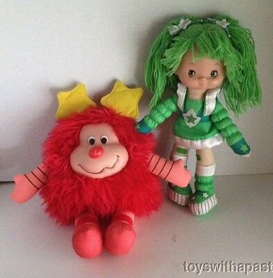 "Rainbow Brite PATTY O'GREEN 11"" Poseable Doll & RED SPRITE Plush LOT Toy Play"