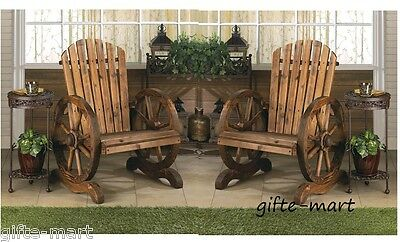 2 Rustic Wood Country Wagon Wheel Outdoor Patio Furniture Adirondack Chair Pair