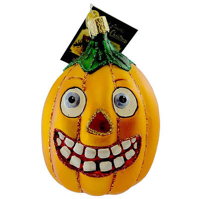 Oblong Vintage Pumpkin Old World Halloween Ornament NWT Mouth Blown Glass