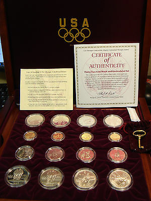 1995 1996 32 Coin Olympic Set $5 Gold Silver Dollars Complete COA KeyWalnut Case