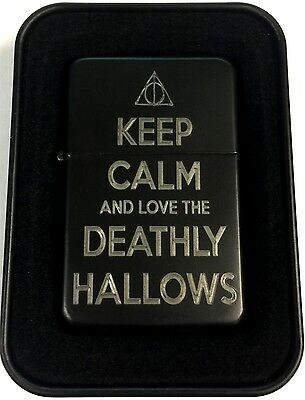 Keep Calm Deathly Hallows Harry Potter Black Engraved Cigarette Lighter LEN-0201