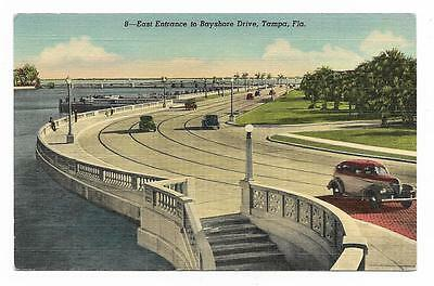 Vintage Florida Linen Postcard Tampa East Entrance to Bayshore Drive