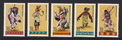 USA US mint stamps - 1996 Traditional Amerindian Dances, SG3207/3211, MNH