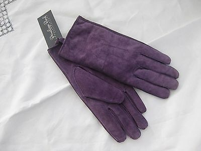 ***'penelope Pond'  Ladies' Purple Suede Leather Gloves Size  Large  Bnwt***