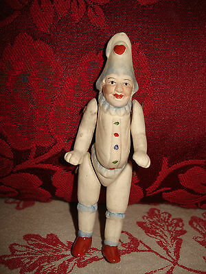 Antique German Hertwig Miniature Bisque Jointed Punch Clown