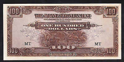 Malaya Japanese Invasion Money JIM $100 P. 8b  ND 1944 aUNC Note Prefix MT