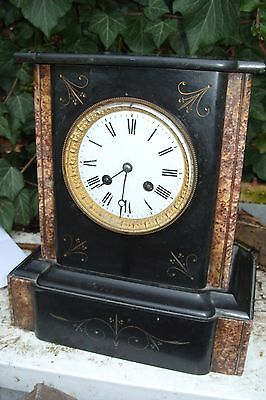 mantel  clock MARBLE  FRENCH  STRIKING ON A BELL  WORKING SEE VIDEO