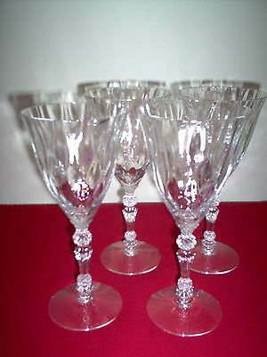 "Fostoria Niagara Crystal #6026/2 7 5/8"" 9 oz Goblets - SET OF 4 - 3 MINT, 1 EXC"