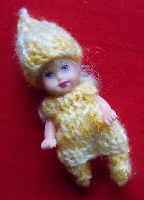"""Doll Clothes yellow 3 pc Outfit for tiny baby  Krissy ooak 2.5"""" Euro Style Knits"""