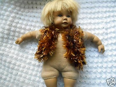 Doll Clothes Hand knitted fuzz gold brown vest for 7 in. 8 inch dolls