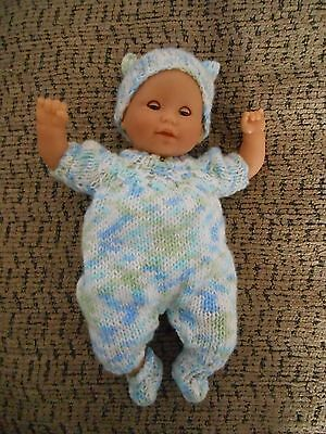 """Doll Clothes Pastels Hand Knitted set Fit 11"""" to 13"""" & Corolle Newborn 12"""""""