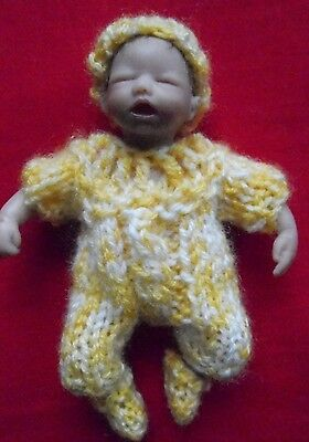 """Doll Clothes romper set hand Knitted Yellow fit baby 4.5"""" 5"""" by Euro Style knits"""