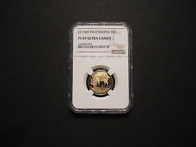 1977 (ee1969) Ethiopia 10 Cents NGC Pf 69 Ultra Cameo