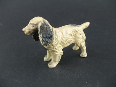 Vintage Cold Cast Metal Black White Cocker Spaniel Dog Figure Figurine
