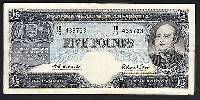 1960 Commonwealth Bank of Australia 5 Pounds Coombs Wilson VF Note R.50