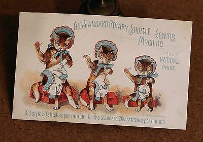 Standard Rotary Shuttle Sewing Machine Victorian Trade Card VTC Cats Sewing