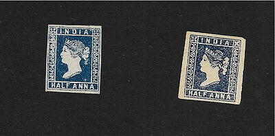 1854 British India QV  Half Anna mint stamps x2 copeis both sides scaned