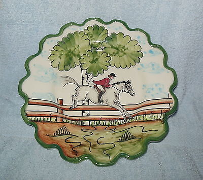 Vintage C E Coroy Signed Hand Painted Equestrian Horse Rider Jump Decor Plate