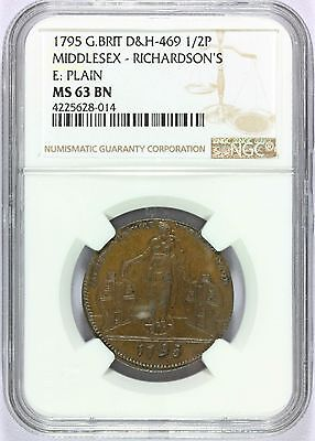 1795 Britain Middlesex Richardson's Half Penny Conder Token D&H-469 NGC MS 63 BN