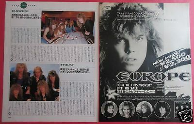 Europe Joey Tempest 1988 Clipping Japan Magazine Pg 9A 2Page
