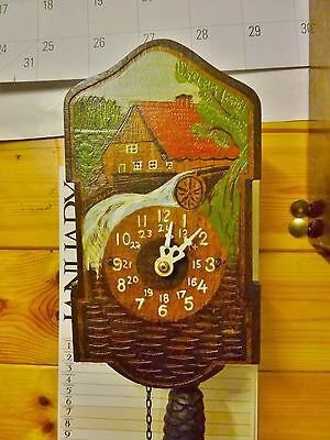 swiss alps clock watermill cuckoo clock style 1940s fully restored repainted 30h