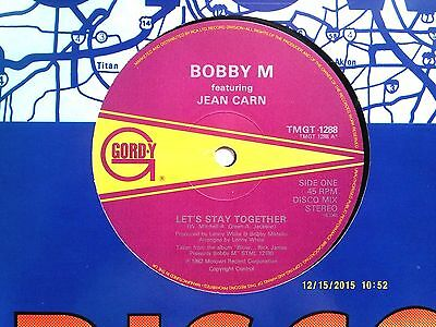 """BOBBY M Feat. JEAN CARN LET'S STAY TOGETHER 12"""" SINGLE 1982 N/MINT"""