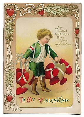 Ellen Clapsaddle Fold Open Valentine - Boy with Too Many Hearts