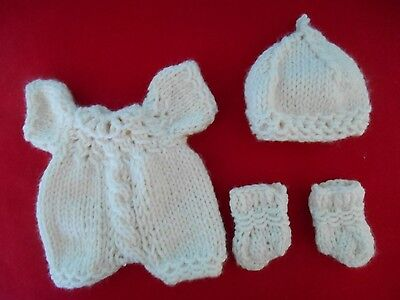 """Doll Clothes Ivory-cream Hand knitted romper set for baby Gerber + Berenguer 8"""""""