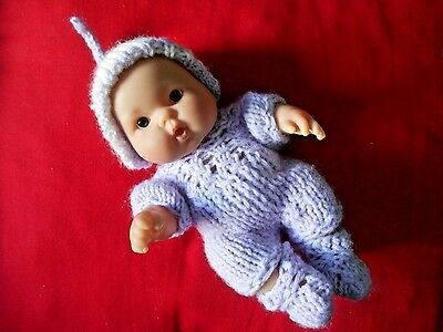 """Doll Clothes lilac-lavender Hand knitted romper set for baby Berenguer 8"""""""