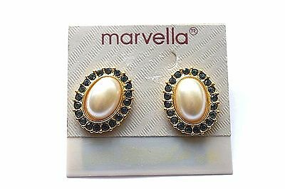 Noc Marvella Faux Pearl And Blue Rhinestone Post Earrings