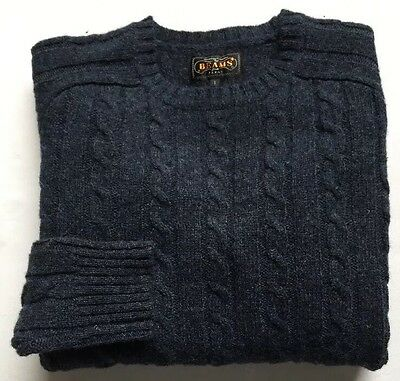 Men's Beams Plus Japan Blue Cable Crewneck Sweater S small 100% Wool